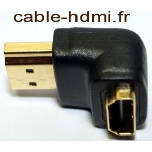 Adaptateur HDMI angle droit male - femelle - plaqué OR