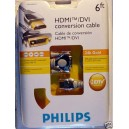 Cable HDMI - DVI Philips 24K Gold HDTV Optimisé 2m -60%