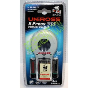 Chargeur Uniross X-PRESS 300 + 4x Piles AA 2500mAh