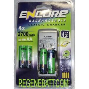 Chargeur Encore + 4x Piles rechargeables AA 2700mAh