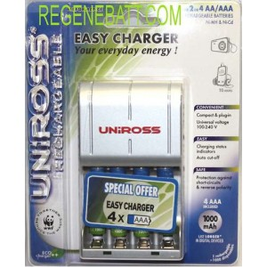 Chargeur + 4x Pile rechargeable LR3 AAA 1000mAh MP3