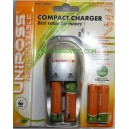 Compact Chargeur Uniross + 4 piles conserve charge 1 an