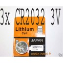 Pile Lithium CR2032 3V Japan (x3)