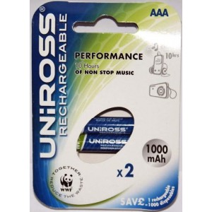 Piles rechargeable UNIROSS AAA 1000mAh NiMH Performant (x2)