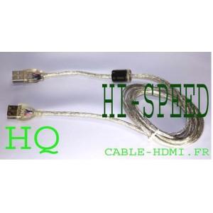 Cable rallonge USB 2.0 1,5m Hi-Speed M/F Blindé